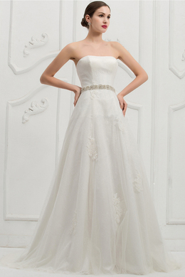 A-Line/Princess Strapless Sweep Train Tulle Wedding Dress with Beaded Sash