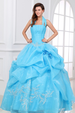 Ball Gown Halter Floor Length Organza Quinceanera Dresses with Beads