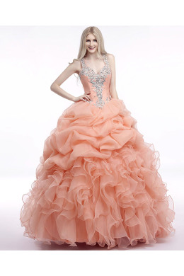 Ball Gown Organza Floor-Length Quinceanera Dresses Plus Size