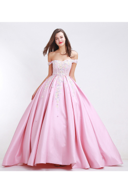 A-Line/Princess Off-the-Shoulder Sweep Train Elastic Satin Prom Dress with Embroidery