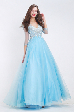 A-Line/Princess V-Neck Floor Length Organza Prom Dress with Beadings