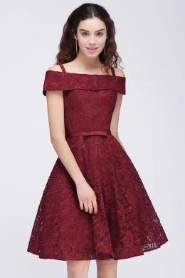 A-Line/Princess Lace Mini Length Short Dresses for Party