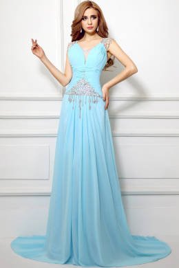 A-Line/Princess V-Neck Sweep Train Chiffon Prom Dress with Beads