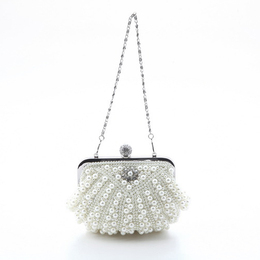 Womens Patterned Pearl Flap-Over Dazzling Clutch Evening Bag
