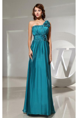 A-Line/Princess One-Shoulder Floor Length Elastic Satin Prom Dresses with Hand Made Flowers