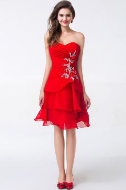 A-Line/Princess Sweetheart Knee Length Chiffon Cocktail Dresses With Applique