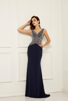 Sheath/Column V-Neck Floor-Length Chiffon Evening Dress with Beaded