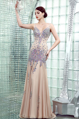 Sheath/Column V-Neck Sweep Train Chiffon Evening Dresses with Beads