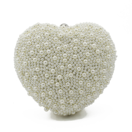 Womens Patterned Pearl Heart Shaped Dazzling Clutch Evening Bag
