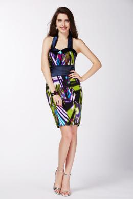Sheath/Column Halter Mini Length Elastic Satin Cocktail Dresses with Printed