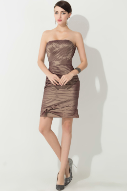 Sheath/Column Strapless Mini Length Satin Mother of the Bride Dress with Pleats