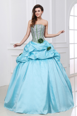 Ball Gown Strapless Floor Length Taffeta Quinceanera Dresses with Sequins