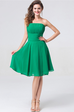 A-Line/Princess Strapless Mini-Length Chiffon Cocktail Dress with Pleats