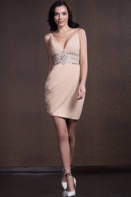 A-Line/Princess V-Neck Mini Length Chiffon Cocktail Dress with Beads