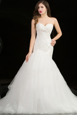Sheath/Column Strapless Floor Length Organza Wedding Dress with Beads