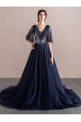 A-Line/Princess Tulle Sweep Train Wedding Guest Dresses Online