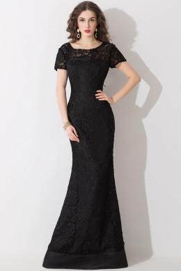 Sheath/Column Jewel Neck Floor Length Lace Evening Dress with Appliques