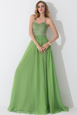 A-Line/Princess Halter Floor Length Chiffon Bridesmaid Dress with Beads