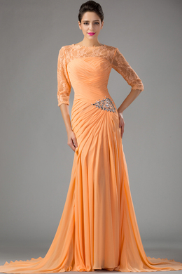 Sheath/Column Jewel Neck Floor Length Chiffon Evening Dress with Pleats