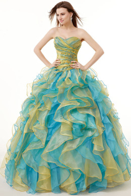 Ball Gown Organza Floor Length Aquamarine Quinceanera Dresses