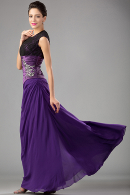 Sheath/Column Jewel Neck Floor Length Chiffon Mother of the Bride Dress with Lace