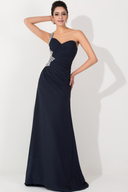 A-Line/Princess One-Shoulder Floor Length Chiffon Prom Dress with Beads