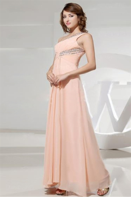 A-Line/princess One-Shoulder Floor Length Chiffon Prom Dress with Diamonds