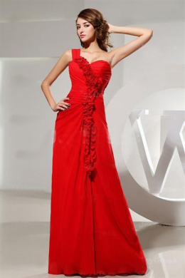 A-Line/Princess One-Shoulder Floor Length Chiffon Prom Dresses with Ruffle