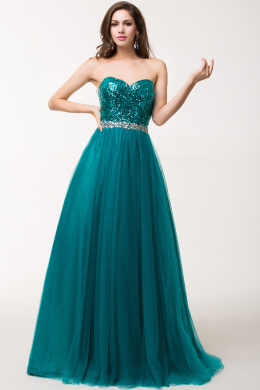 A-Line/Princess Strapless Floor Length Tulle Prom Dress with Sequins