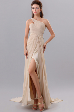 A-Line/Princess One-Shoulder Sweep Train Chiffon Prom Dresses with Ruffle