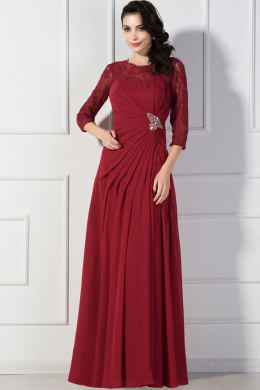 A-Line/Princess Jewel Neck Floor Length Chiffom Mother of the Bride Dress with Pleats