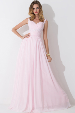 A-Line/Princess Sweetheart Neckline Floor Length Chiffon Prom Dress with Appliques