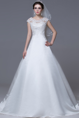 A-Line/Princess Jewel Neck Chapel Train Satin Wedding Dress with Appliques
