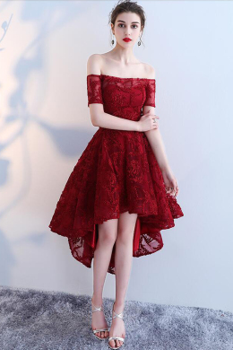 A-Line/Princess Lace Hi-Lo Cocktail Dresses Evening Wear