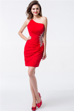 Sheath/Column One-Shoulder Short/Mini Elastic Satin Cocktail Dresses With Applique