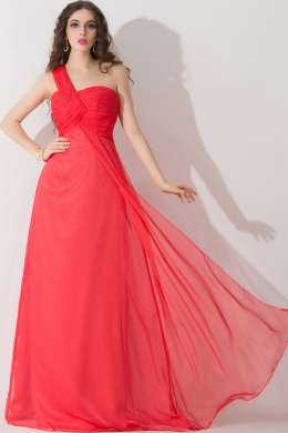 A-Line/Princess One-Shoulder Floor Length Chiffon Prom Dress with Pleats