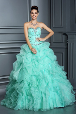 Ball Gown Organza Floor Length Quince Party Dresses