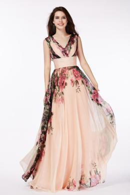 A-Line/Princess V-Neck Floor Length Chiffon Prom Dress with Printed