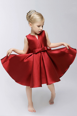 A-Line/Princess Satin Knee Length Flower Girl Dresses for Less