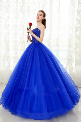A-Line/Princess Strapless Floor Length Organza Prom Dress with Beads