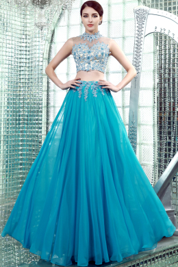 A-Line/Princess High Neck Floor Length Chiffon Prom Dresses with Applique