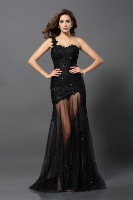 Sheath/Column Tulle Floor Length Womens Black Evening Dresses