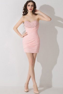 Sheath/Column Strapless Mini-Length Chiffon Prom Dress with Beads