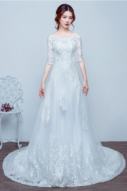 A-Line/Princess Lace Sweep Train Bride in Wedding Dress