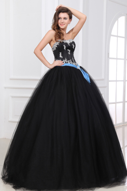 Ball Gown Strapless Floor Length Tulle Prom Dress with Embroidery