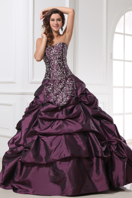 Ball Gown Strapless Floor Length Taffeta Quinceanera Dresses with  Embroidery