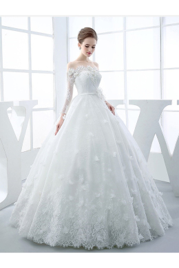 Ball Gown Lace Floor-Length Gorgeous White Wedding Dresses