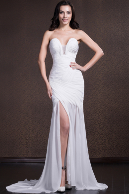 Sheath/Column Strapless Sweep Train Chiffon Evening Dress with Slit