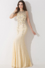 Sheath/Column Jewel Neck Floor Length Chiffon Prom Dress with Beadings