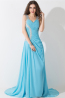 A-Line/Princess Spaghetti Sweep Train Chiffon Evening Dresses With Applique